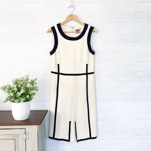 Tory Burch Cream Navy Blue Trim Knit Mini Dress
